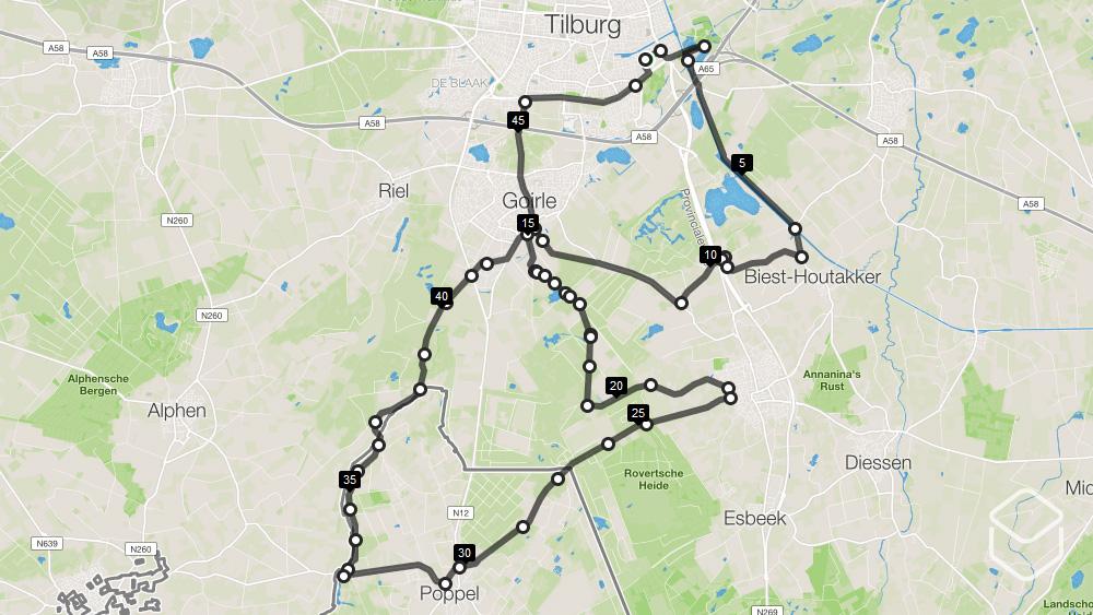 cobbles wielrennen routes tilburg kaart belgie