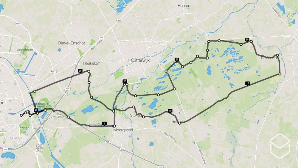 cobbles wielrennen routes tilburg kaart kampina