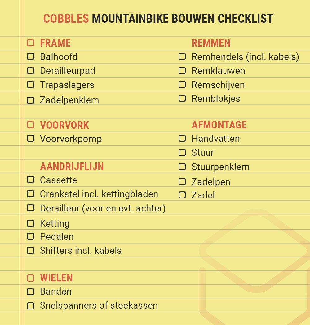 cobbles mountainbiken zelf mtb bouwen checklist